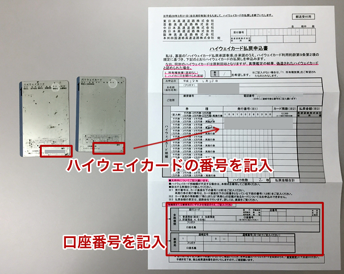 払い戻し申込書の記入方法